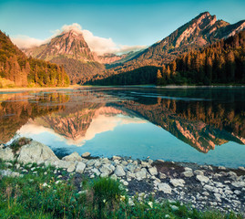Great summer view of the Obersee lake