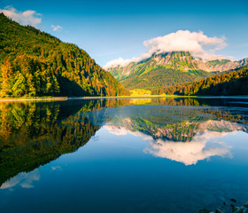 Sunny summer landscape on the Obersee lake