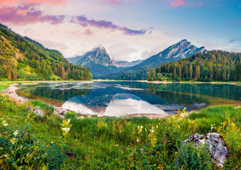 Great summer landscape on the Obersee lake.