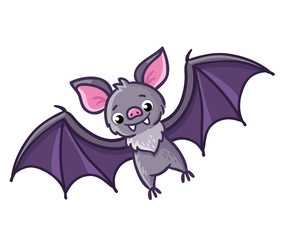 Bat on a white background. Vector illustration in a cartoon style.