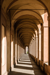 Bologna, Italy. Famous San Luca's portico (porch): the longest portico in the world.