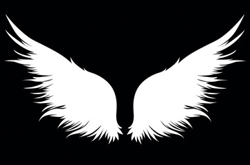 White Wings. Vector illustration on dark background. Black and white style