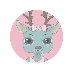 Deer. round icon with an animal. Cute cartoon style for baby product