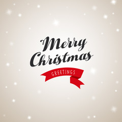 Christmas greetings with Merry Christmas text and ribbon.