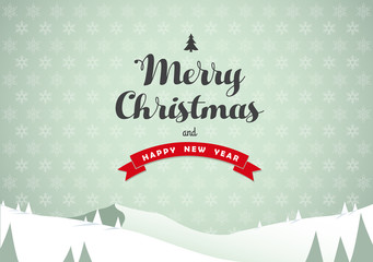 Winter mountain landscape scenery, Merry Christmas text with pine trees and stars.