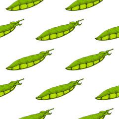 Green peas. Hand drawn sketch. Seamless pattern