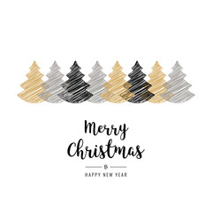 christmas trees scribble drawing greeting card isolated white background