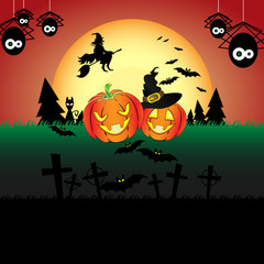 Happy Halloween scene. Pumpkin, witch, bats - very underlines holiday.