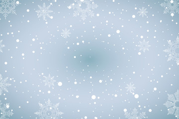 Christmas background, winter decoration season design card with snow and snowflake. Vector xmas