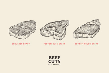 Set different cuts of meat: shoulder roast, porterhouse steak, bottom round steak. Hand drawing pictures for concept of farmer's market and shop. Vector Vintage Illustration.