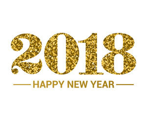 Happy New Year 2018. Gold text with glitter. Vector illustration