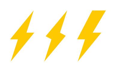 Set of three lightning bolt icons