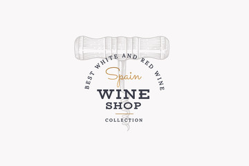 Wines of Spain. Vector logo wine shop with image corkscrew on light background. Engraved style.