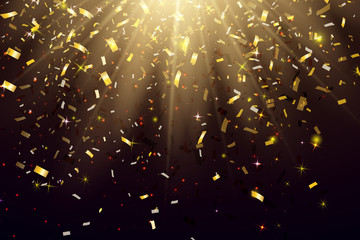 Fotomurales - Abstract Elegant Shining Background with Falling Shiny Gold Glitter Confetti. Vector illustration