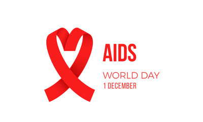 World AIDS day red ribbon logo symbol poster for 1 December awareness poster. Vector HIV and AIDS support day ribbon symbol or emblem badge on white background