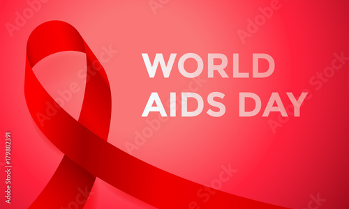 World Aids Day Red Ribbon Poster Or Banner For 1 December Awareness