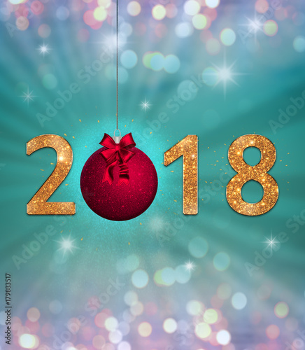 new year celebration background with colorful party lights golden sparkling 2018 text and