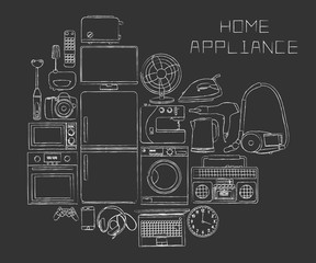 hand-drawn household appliances on a black background
