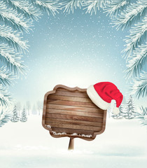 Christmas holiday background with wooden sign and Sana hat. Vector.