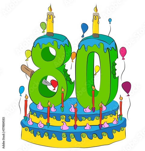 80 Birthday Cake With Number Eighty Candle Celebrating Eightieth Year Of Life Colorful Balloons