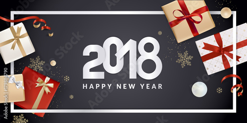 happy new year greeting card vector illustration concept for greeting cards web banner