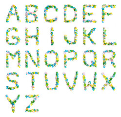 Colorful wood alphabet letters on a white background,font letter A-Z