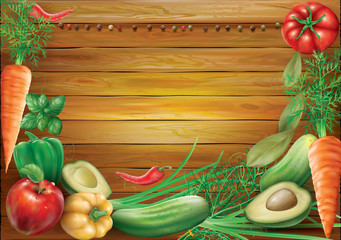 Vegetables and spices on a wooden background