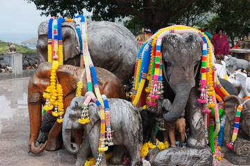 figures of elephants on the viewing platform lighthouse, Phuket Thailand