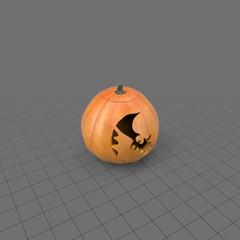 Halloween pumpkin with bat shape