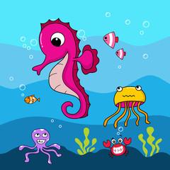 cute seahorse. underwater life background