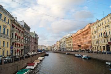 View at bridge through river in Saint Petersburg