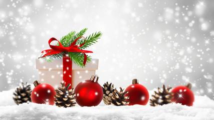 weihnachtsgeschenk, christbaumkugeln, schnee, tannengrün