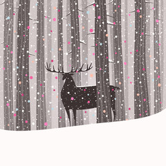 A deer in a pine tree forest at wintertime. Merry Christmas and Happy New Year vector card.
