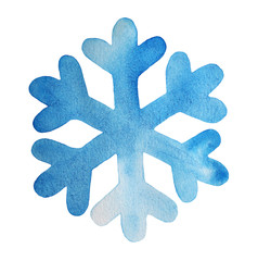 Snowflake watercolor illustration, light blue color, isolated on white background. Symbol of winter, snow weather sign, christmas holiday decoration, texture, graphic icon.