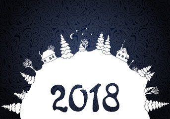 New year 2018 background with white silhouettes of winter countryside landscape: firs, trees, houses, bushes, snowdrifts, moon and stars. Vector illustration.