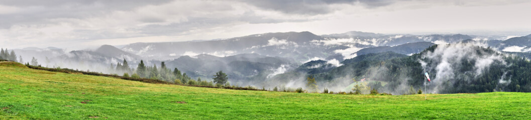 Dramatic sky at rainy day in Black Forest in Germany / Wide panoramic photo of Black Forest nearby Freudenstadt