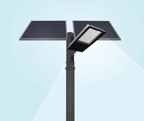 Street light with solar panels. vector illustration
