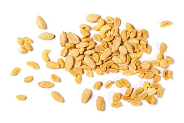 Mix of roasted and salted peanuts, cashew nuts, almonds and hazelnut isolated on white background, top view