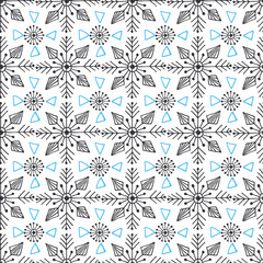 Snowflakes ornamental seamless pattern. Texture for Christmas decorations. Abstract endless background. Vector design for textile or wrapping paper.
