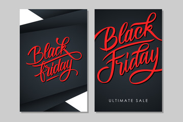 Black Friday Sale. Set of promotional flyers with hand drawn lettering for business, commerce and advertising. Vector illustration.