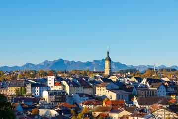 City Traunstein at sunrise