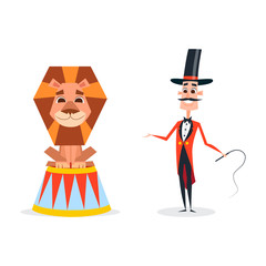 Circus trainer with a whip in a red suit. An animal tamer stands next to a smiling lion.