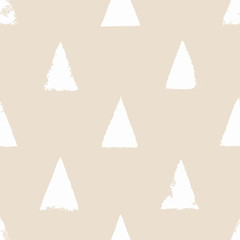 Seamless pattern with triangles. Forms printed in ink. Hand drawn. Vector illustration.