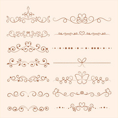 Hand drawn vector ornaments for invitation, congratulation and greeting card.
