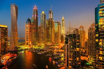 DUBAI, UAE - NOVEMBER 2: Dubai Marina at night from the top, on November 2, 2013, Dubai, UAE. In the city of artificial channel length of 3 kilometers along the Persian Gulf.