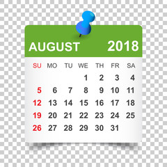 August 2018 calendar. Calendar sticker design template. Week starts on Sunday. Business vector illustration.