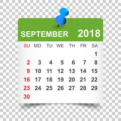 September 2018 calendar. Calendar sticker design template. Week starts on Sunday. Business vector illustration.