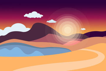 Mountain landscape with a lake and a road. Sky with clouds. Summer nature. Travel, outdoor activities, outdoor sports, vacation. Flat style. Vector illustration.