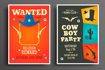 Wanted flat western poster template