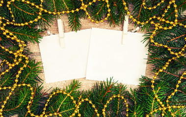 Mock up, with fir branches, christmas, new year